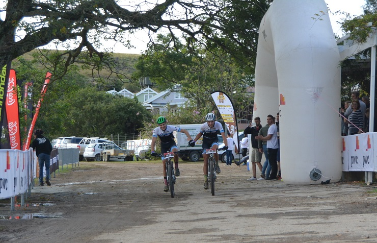 Aiden Connelly (left) and Rogan Smart take the honours in the second stage of the three-day PwC Great Zuurberg Trek mountain-bike race at Zuurberg Mountain Village at Addo, 70km outside Port Elizabeth, today. Picture: Full Stop Communications